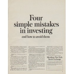 "1963 Members New York Stock Exchange Ad ""simple mistakes"""