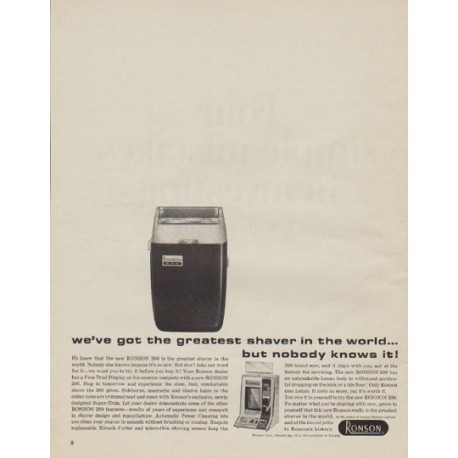 """1963 Ronson Ad """"greatest shaver in the world"""""""
