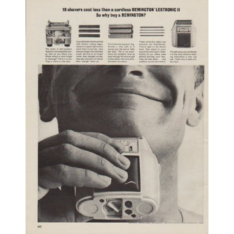 "1963 Remington Electric Shaver Ad ""Lektronic"""