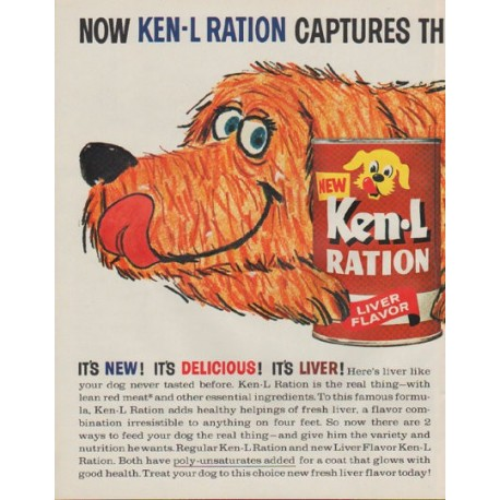 """1963 Ken-L Ration Dog Food Ad """"Choicest Taste"""""""