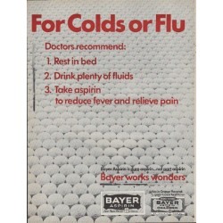 "1967 Bayer Aspirin Ad ""For Colds Or Flu"""