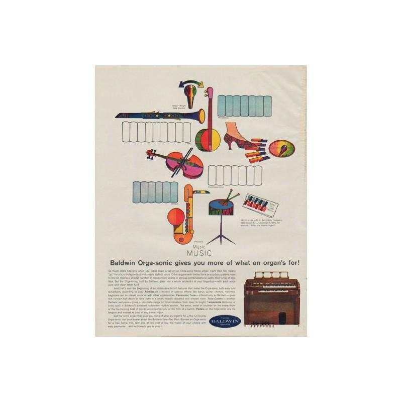 1963 Baldwin Organ Vintage Ad Quot Orga Sonic Quot