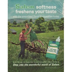 "1963 Salem Cigarettes Ad ""freshens your taste"""