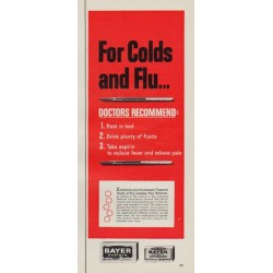 "1963 Bayer Aspirin Ad ""For Colds and Flu"""