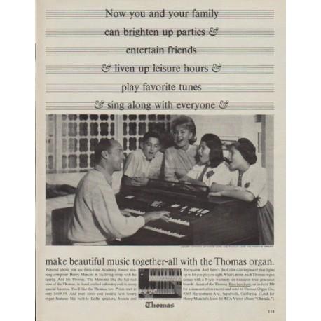 """1963 Thomas Organ Ad """"brighten up parties"""""""