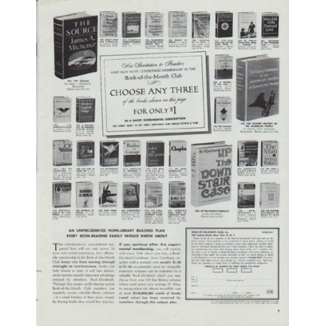 """1965 Book-Of-The-Month Club Ad """"Choose Any Three"""""""