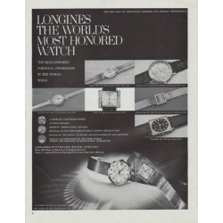 "1965 Longines-Wittnauer Watch Ad ""The World's Most Honored Watch"""