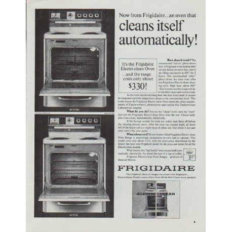 """1965 Frigidaire Ad """"cleans itself automatically"""""""