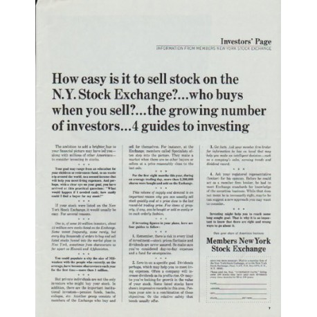 "1965 Members New York Stock Exchange Ad ""How easy"""