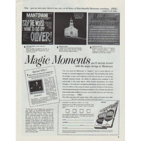 "1965 Mantovani recordings Ad ""Magic Moments"""