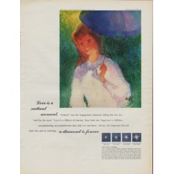 1967 De Beers Diamond Ad, w/ artwork of Gustave Nebel