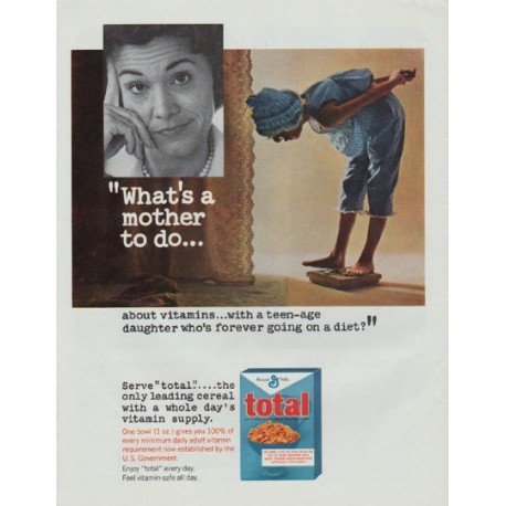 "1965 total cereal Ad ""What's a mother to do"""