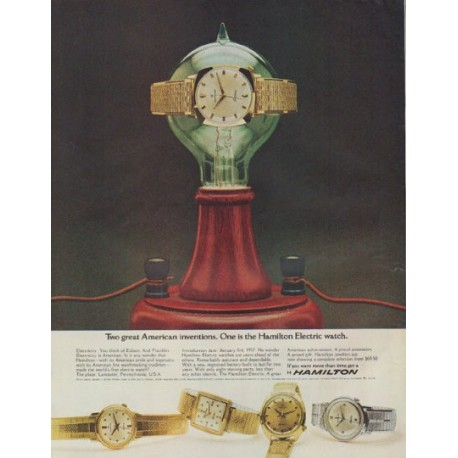 "1965 Hamilton Watch Ad ""Two great American inventions"""