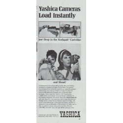 "1965 Yashica Camera Ad ""Yashica Cameras Load Instantly"""