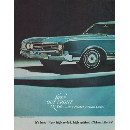 """1966 Oldsmobile Ad """"Step Out Front"""""""