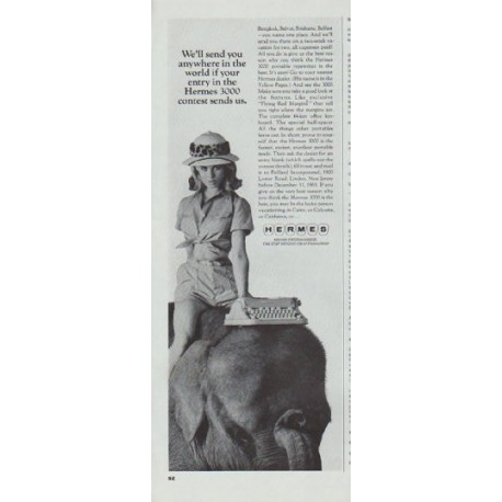 """1965 Hermes Typewriter Ad """"anywhere in the world"""""""