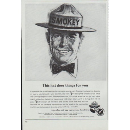 "1965 U. S. Forest Service Ad ""This hat"""