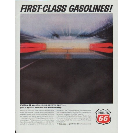 """1965 Phillips 66 Ad """"First-Class Gasolines"""""""