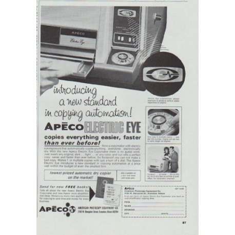 "1965 Apeco Ad ""new standard in copying automation"""