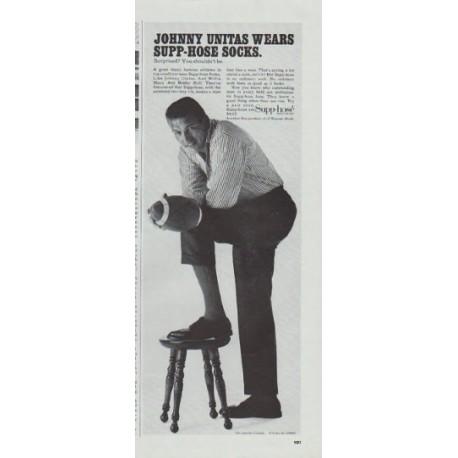 "1965 Supp-hose Socks Ad ""Johnny Unitas"""