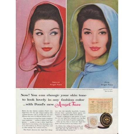 "1960 Pond's Angel Face Ad ""change your skin tone"""