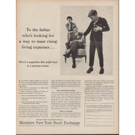 """1960 Members New York Stock Exchange Ad """"To the father"""""""