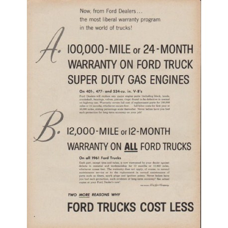 "1961 Ford Trucks Ad ""from Ford Dealers"""