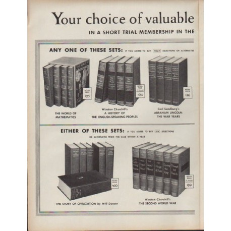 "1960 Book-Of-The-Month Club Ad ""valuable library sets"""