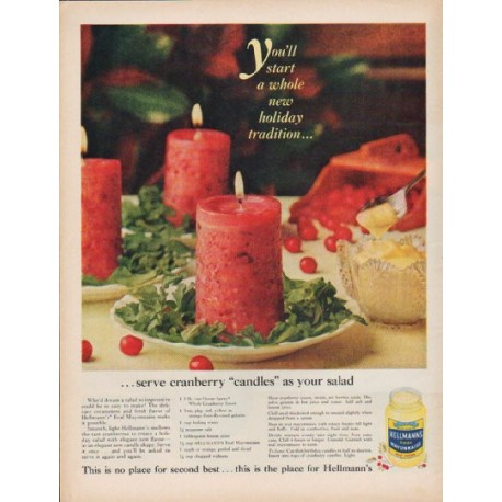 """1960 Hellmann's Real Mayonnaise Ad """"new holiday tradition"""""""