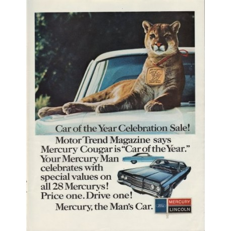 "1967 Mercury Cougar Ad ""Car Of The Year"""