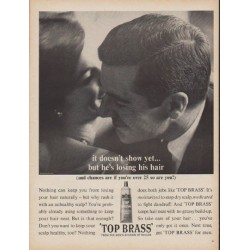 "1960 Top Brass Hair Dressing Ad ""it doesn't show yet"""