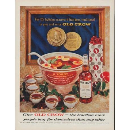 "1960 Old Crow Bourbon Ad ""125 holiday seasons"""