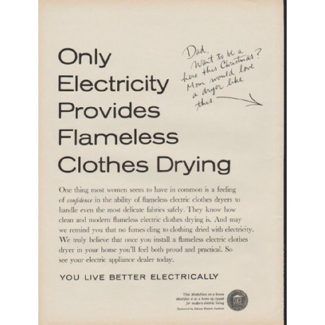 "1960 Edison Electric Institute Ad ""a dryer like this"""