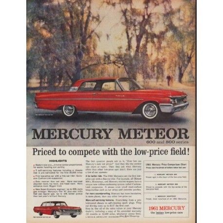 "1961 Mercury Ad ""Priced to compete"""