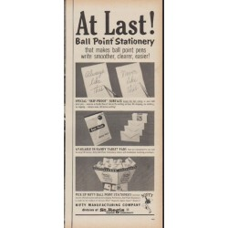 "1960 Nifty Ball Point Stationery Ad ""At Last"""