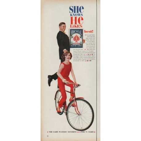 """1960 Bicycle Playing Cards Ad """"She knows"""""""