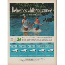 "1960 Newport Cigarettes Ad ""Refreshes while you smoke"""