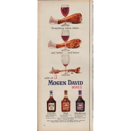 "1960 Mogen David Wines Ad ""Everything tastes better"""