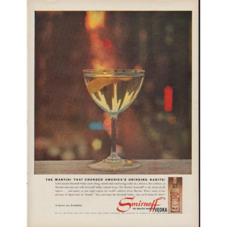"1960 Smirnoff Vodka Ad ""The Martini"""