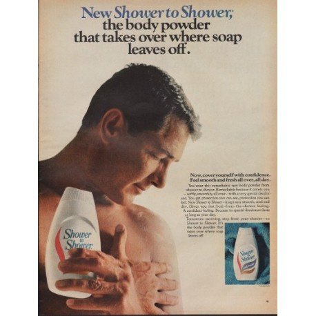 "1967 Shower To Shower Ad ""Body Powder That Takes Over"""