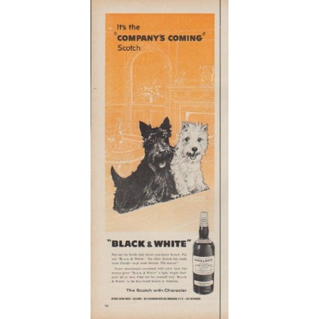 "1960 Black & White Scotch Ad ""Company's Coming"""