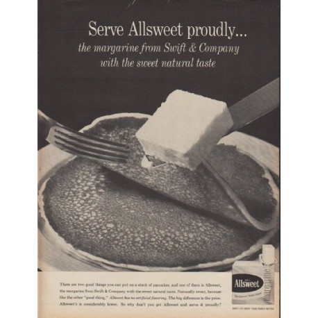"1960 Allsweet Margarine Ad ""Serve Allsweet proudly"""
