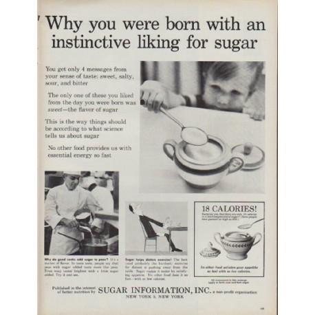 "1960 Sugar Information, Inc. Ad ""instinctive liking for sugar"""