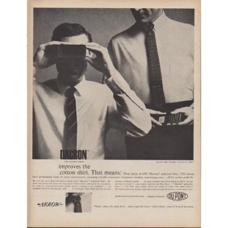 """1960 Du Pont Dacron Ad """"improves the cotton shirt"""""""