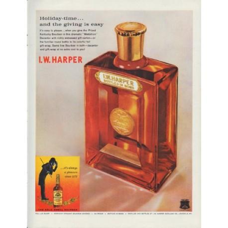"1960 I. W. Harper Bourbon Ad ""Holiday-time"""
