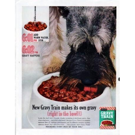"1961 Gravy Train Dog Food Ad ""Gravy Happens"""