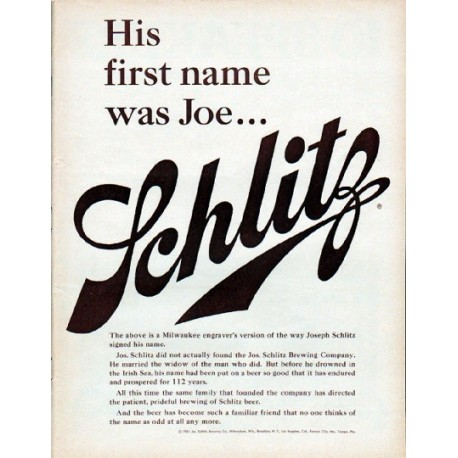 "1961 Schlitz Beer Ad ""His first name was Joe"""