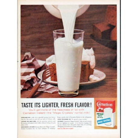 "1961 Carnation Milk Ad ""Lighter, Fresh Flavor"""