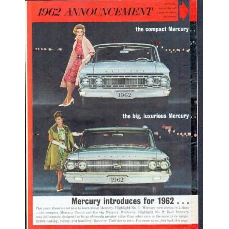 "1962 Ford Mercury Ad ""1962 Announcement"""