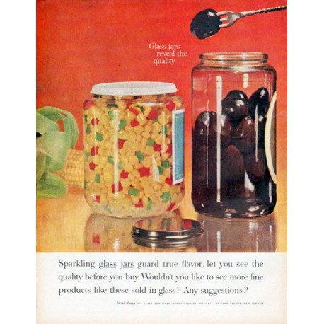 "1961 Glass Container Manufacturers Institute Ad ""Sparkling glass jars"""